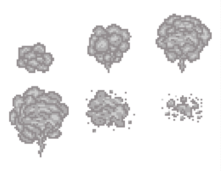 Pixel art smoke animation vector frames for game design. Pixel game smoke, cloud pixel smoke, video animation pixel smoke illustration Vectores