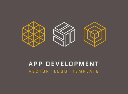 기술, 개발, 건축, 선 스타일에서 설정 한 게임 스튜디오 벡터 로고. 앱 개발 로고, 회사 개발 응용 프로그램, 아이소 메트릭 로고 앱 개발 그림