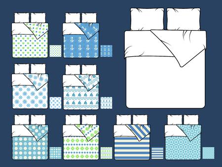 Bedding vector mockup en monster naadloze patronen vult. Meubilair beddengoed, comfort kussens, beddengoed interieur, achtergrond patroon deken beddengoed illustratie