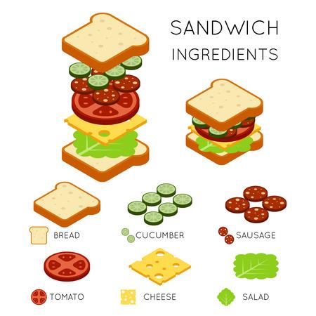 ベクトル 3 D アイソメ図スタイルのサンドイッチの材料。サンドイッチ イラスト、食品サンドイッチ デザイン アメリカン サンドイッチ ハンバーガ