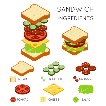 ingredientes de sándwich vector en estilo isométrica en 3D. ilustración bocadillo, sándwich de comida, diseño americano hamburguesa sándwich