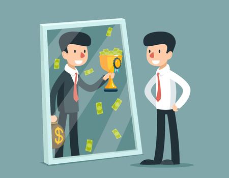 Businessman standing in front mirror and see himself being successful. Vector business concept. Businessman success reflection, businessman looking mirror, businessman himself successful illustration Çizim