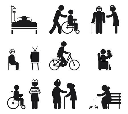 care: Elderly care icons. Care elderly people, care senior eldery, human care eldery. Vector illustration