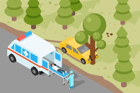 evacuation: Ambulance. Emergency medical accident evacuation. Emergency, medical ambulance, accident evacuation, medicine evacuation service, evacuation vehicle. Vector illustration Illustration