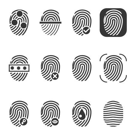 odcisk kciuka: Papilarnych ikon wektorowych. Fingerprint ikona, odcisk palca lub tożsamości, zabezpieczenie biometryczne odcisków palców ilustracji Ilustracja