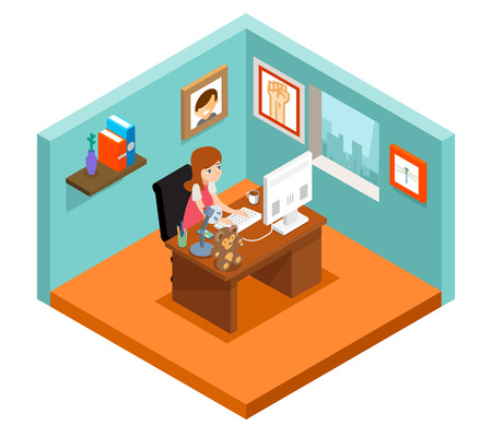 freelance: Freelancer at work. Isometric 3d freelance woman working at home. Woman freelance, business freelance job, girl freelance. Vector illustration Illustration