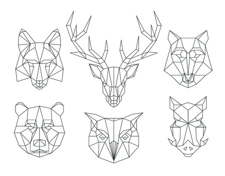 낮은 폴리 동물 머리. 삼각형 얇은 선 동물 벡터 집합입니다. 동물 형상 헤드, 아이콘 동물 다각형, 다각형 동물 문신 그림 일러스트