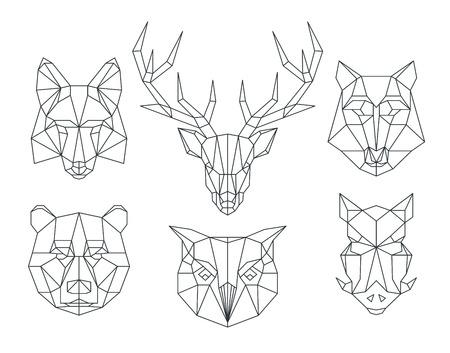 Têtes d'animaux low poly. Triangular ligne mince animaux vector ensemble. Tête géométrique animale, polygone animal icône, illustration de tatouage animal polygonale
