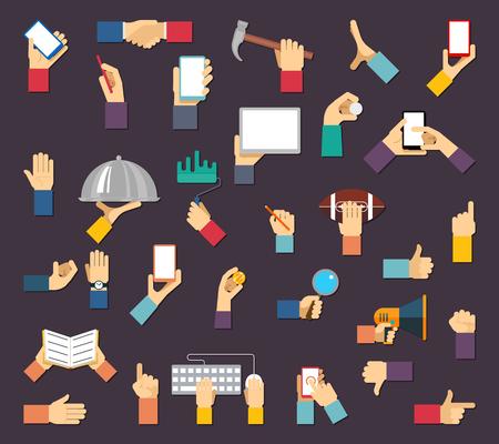 segurar: Mãos com os objetos. Vetor mãos seguram os dispositivos e ferramentas. Mão e objeto, mão ferramenta dispositivo, equipamento mão, mão humana com ilustração de comunicação móvel