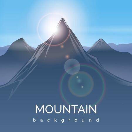 sunbeam background: Mountain landscape background with sunbeam. Mountain sunbeam, peak mountain, travel sunlight mountain, sunshine light, vector illustration