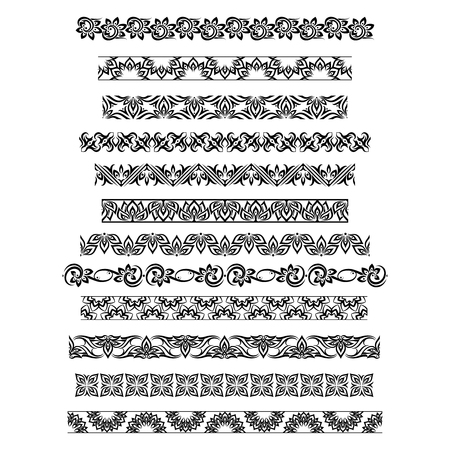 thai motifs: Thai ornament border patterns with vector thai floral motifs. Thai design border, pattern border thai, ornament thai border illustration