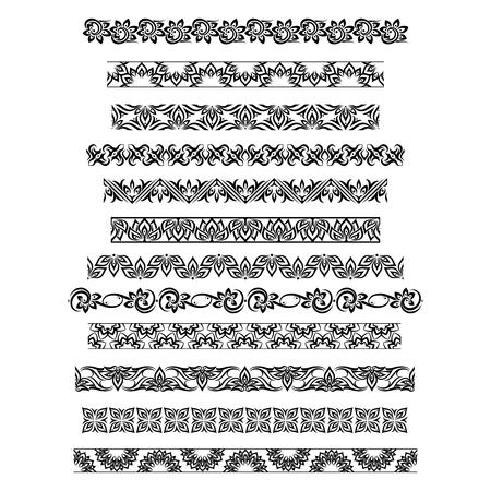 thai motifs: Thai ornament border patterns with vector thai floral motifs. Thai design border, pattern border thai, ornament thai border illustration