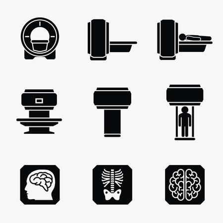 의료 MRI 스캐너 진단. 스캐너 MRI 진단 아이콘, 의료 MRI 진단 방사선과, 자기 공명 영상 진단 의학입니다. 벡터 아이콘