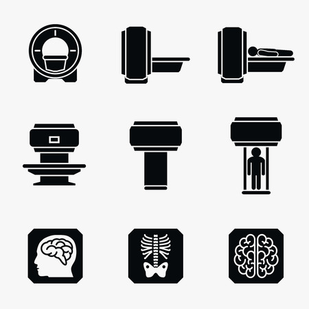 radiology: Medical MRI scanner diagnostic. Scanner mri diagnostic icon, medical mri diagnostic radiology, mri diagnostic medicine illustration. Vector icons