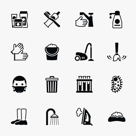 Sanitation and health vector flat icons set. Bacteria sanitation, hygiene sanitation, wash soap sanitation illustration Vettoriali