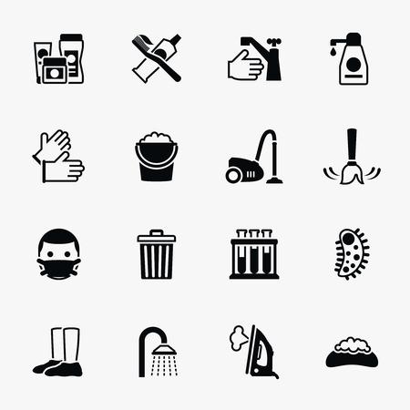 Sanitation and health vector flat icons set. Bacteria sanitation, hygiene sanitation, wash soap sanitation illustration Illustration