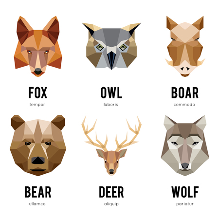 Low polygon animal . Triangular geometric animals set. Bear low polygon , deer low polygon , fox low polygon , boar and wolf low polygon . Vector illustration