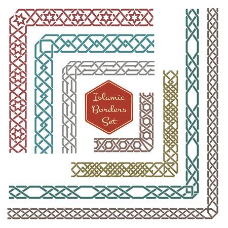 bordures ornementales islamiques avec des coins vecteur. Motif frontière, ornement de motif de coin, coin décoratif illustration frontière