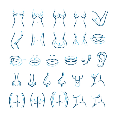 Plastic surgery vector line icons set. Cosmetic surgery icons. Care body cosmetic surgery, plastic surgery body, beauty plastic surgery illustration Vectores