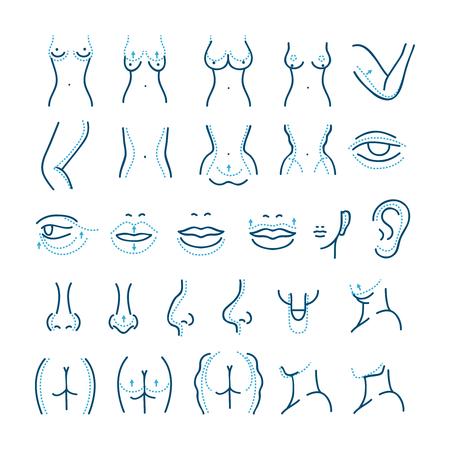 Set di icone di linea vettoriale di chirurgia plastica. Icone di chirurgia estetica. Chirurgia estetica del corpo cura, corpo di chirurgia plastica, illustrazione di chirurgia plastica di bellezza Vettoriali