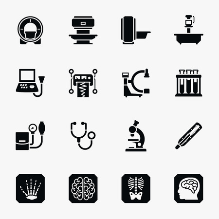 Medisch diagnostisch vector iconen set. Medisch diagnostisch, gezondheid diagnostische symbool, wetenschap diagnoselaboratorium illustratie