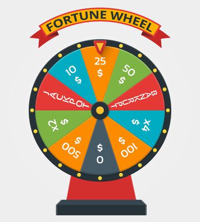 Rad van Fortuin in flat vector stijl. Wiel fortuin, game geld fortuin, winnaar geluk play fortuin wiel illustratie Stockfoto - 62382137