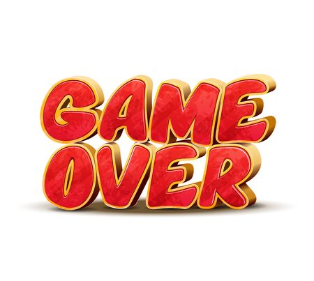 game over: Game over icon for game design. Game over vector interface message. Game end, text game over, icon game over, final game over illustration