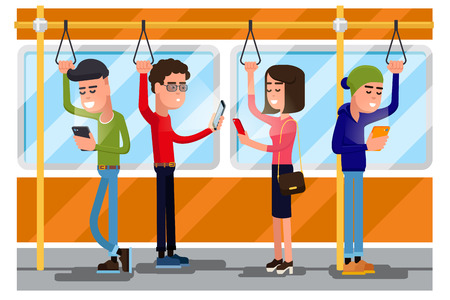 socializing: Young people using smartphone socializing in public transport. Vector concept background. Smartphone in transport,  using smartphone public, smartphone in train illustration