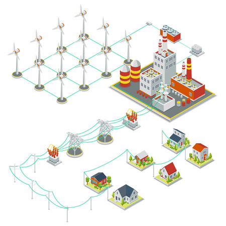 windpower: Windmil turbine power. 3D isometric clean energy concept. Power energy windmil, electricity windmill, turbine electric windmil illustration Illustration