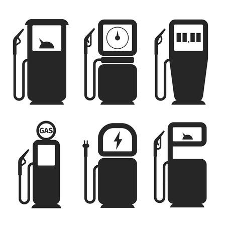 Gas pump and fuel pump vector icons set. Fuel and gas pump, gasoline pump, petrol and diesel pump, station electricity illustration