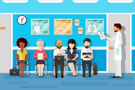 Patiënten in de wachtkamer van artsen. Patiënt en arts, patiënt in het ziekenhuis, kantoor interieur kliniek, wachten geduldig. vector illustratie