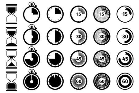 Temporizador, cronómetro y el icono de reloj de vector. ilustración cronómetro, reloj cronómetro, icono de cronómetro Ilustración de vector