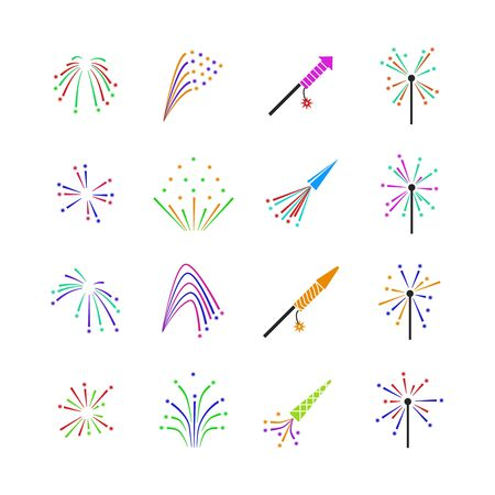 pyrotechnic: Color fireworks vector set. Firework event, firework pyrotechnic, carnival firework illustration