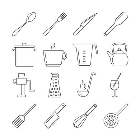 kitchen tool: Cooking and kitchen tools line vector icons. Icon utensil kitchen tool, kitchen cooking, fork and knife kitchen, utensil kitchen illustration