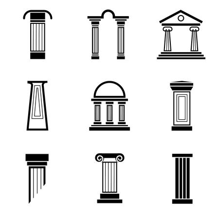 Columna iconos del vector negro. arquitectura de la columna, la columna griego, romano antiguo columna, ejemplo antiguo clásico pilar