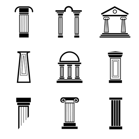 Column zwarte vector iconen. Column architectuur, grieks kolom, oude kolom roman, antieke klassieke pijler illustratie