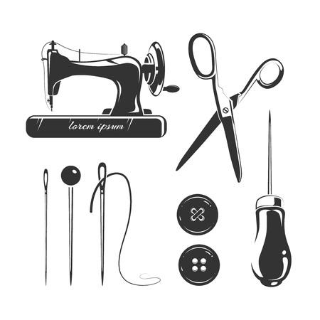 Kleermaker, naai-accessoires vector elementen voor labels, emblemen en. Naald tool, naaien ambachtelijke, pin en schaar label, naaien en kleermaker handwerk, hobby naaien, industrie kleermaker illustratie