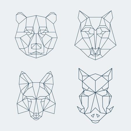 eber: Bär und Wolf, Fuchs und Wildschwein Köpfe. Illustration