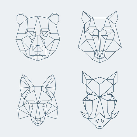 Bear and wolf, fox and wild boar heads. illustration Illustration