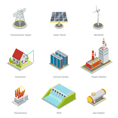 Smart grid elements. Power smart grid items vector set. Energy and electricity, transmission tower, solar panel, windmill and consumer house, control centre, power station illustration Vettoriali
