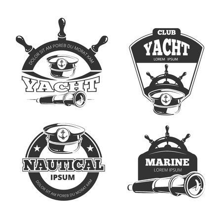 yacht: Nautical vector signs, labels and badges. Yacht and nautical club, marine yacht badge, label nautical yacht, vintage stamp