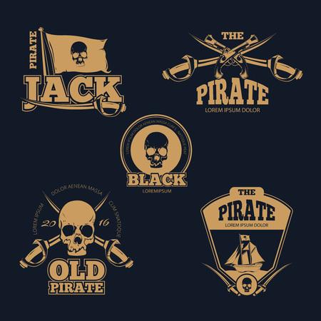 old stamp: Retro piratical color  labels and badges. Old pirate emblem, skull human pirate  sword and flag pirate stamp. Vintage vector illustration collection
