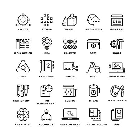Creative process and tools line icons set. Creative icon tool, icon tools bitmap and 3d art, imagination and front end tools, design ui and ux tools icon. Vetor illustration