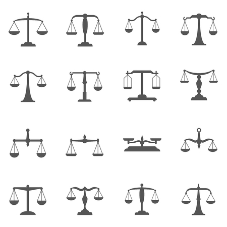 Vector scales, balance icons. Scale symbol, scale weight, scale measurement, equal scale illustration