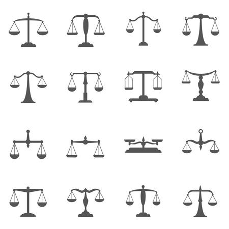 vector balanzas, iconos de equilibrio. símbolo de la balanza, peso de la escala, la escala de medición, igual escala ilustración