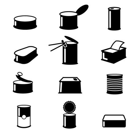 Lattine per alimenti, prodotti in scatola icone vettoriali. lattine alimentare illustrazione, lattine contenitore di alimento isolati, alluminio lattine aperte alimentari