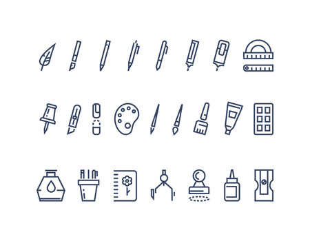 writing equipment: Drawing and writing tools. Line vector icons set. Tool drawing, stationery drawing, brush drawing equipment illustration