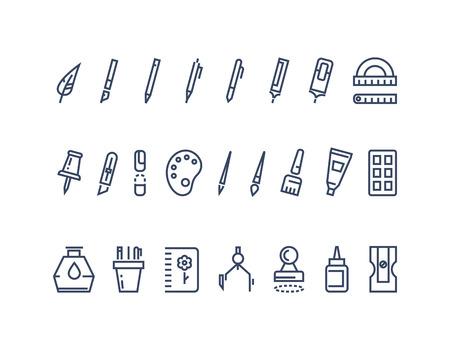 Herramientas de dibujo y escritura. iconos conjunto de vectores línea. Herramienta de dibujo, dibujo de papelería, cepillo equipo gráfico ilustración