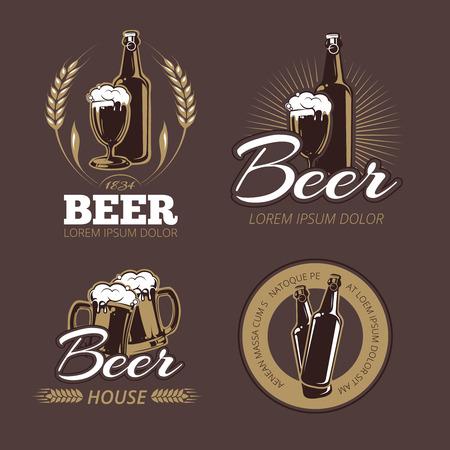lager beer: Color beer labels vector set. Beer badge, alcohol beer, lager beer bottle, beverage beer label illustration