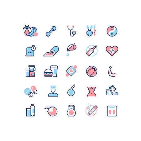 Healthy life and fitness vector line icons. Health life fitness, health life food, health life training illustration